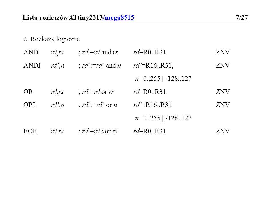 Lista rozkazów ATtiny2313/mega8515 7/27