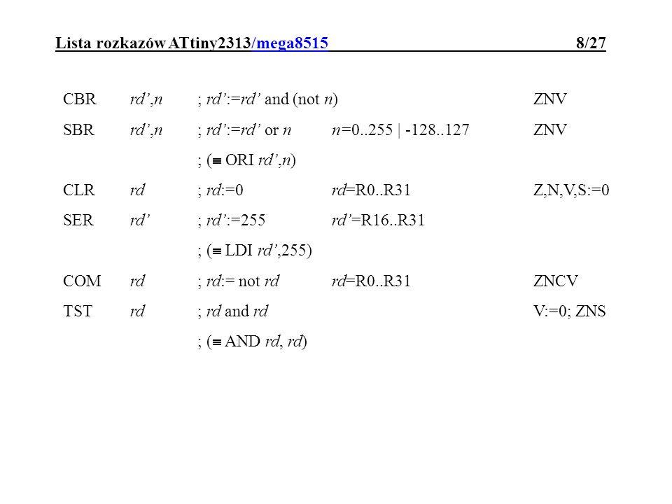 Lista rozkazów ATtiny2313/mega8515 8/27