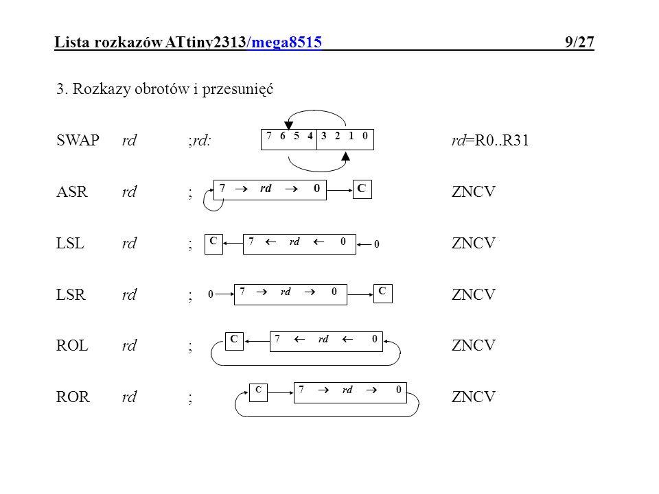 Lista rozkazów ATtiny2313/mega8515 9/27