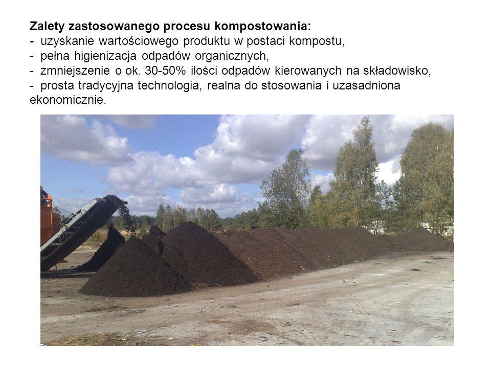 Zalety zastosowanego procesu kompostowania: - uzyskanie wartościowego produktu w postaci kompostu, - pełna higienizacja odpadów organicznych, - zmniejszenie o ok.