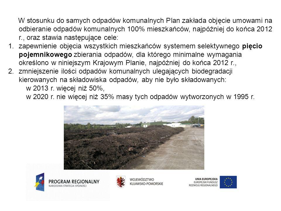 W stosunku do samych odpadów komunalnych Plan zakłada objęcie umowami na odbieranie odpadów komunalnych 100% mieszkańców, najpóźniej do końca 2012 r., oraz stawia następujące cele:
