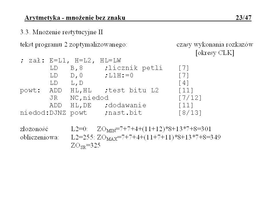 Arytmetyka - mnożenie bez znaku 23/47