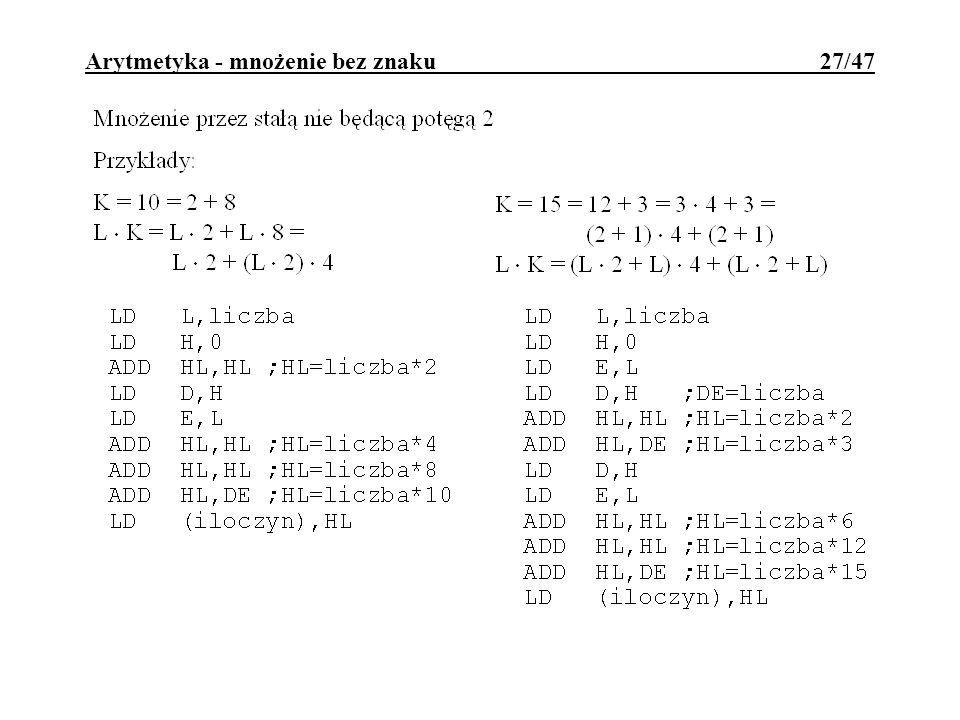 Arytmetyka - mnożenie bez znaku 27/47