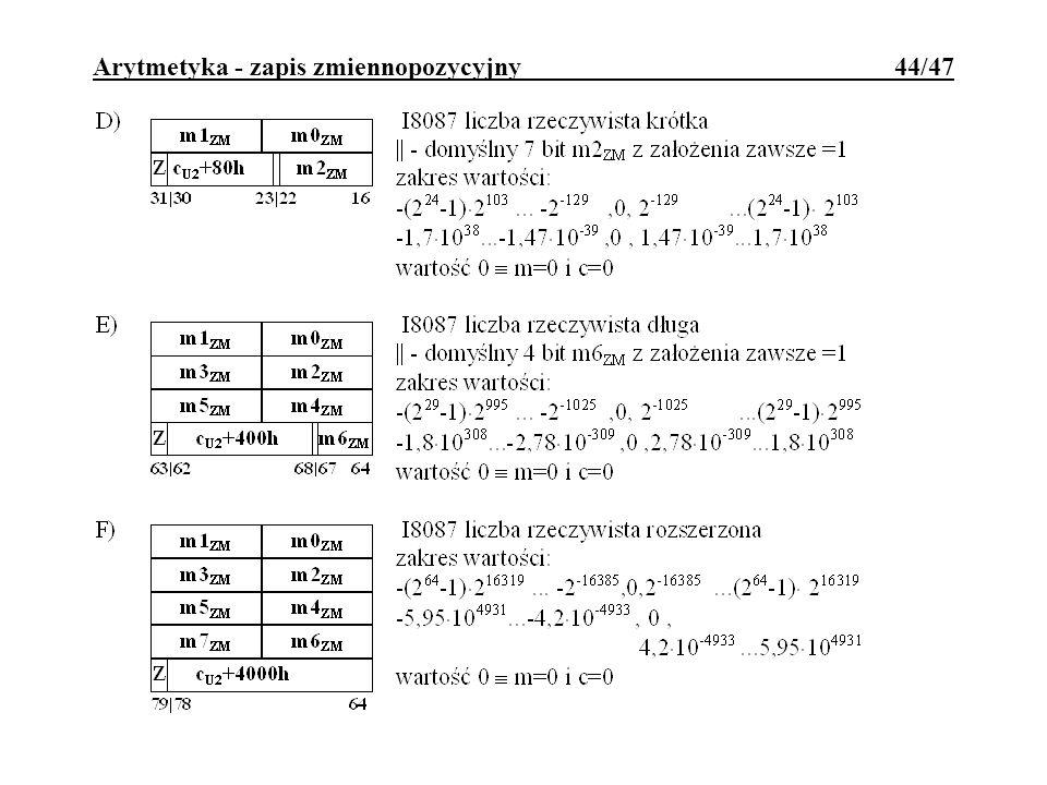 Arytmetyka - zapis zmiennopozycyjny 44/47