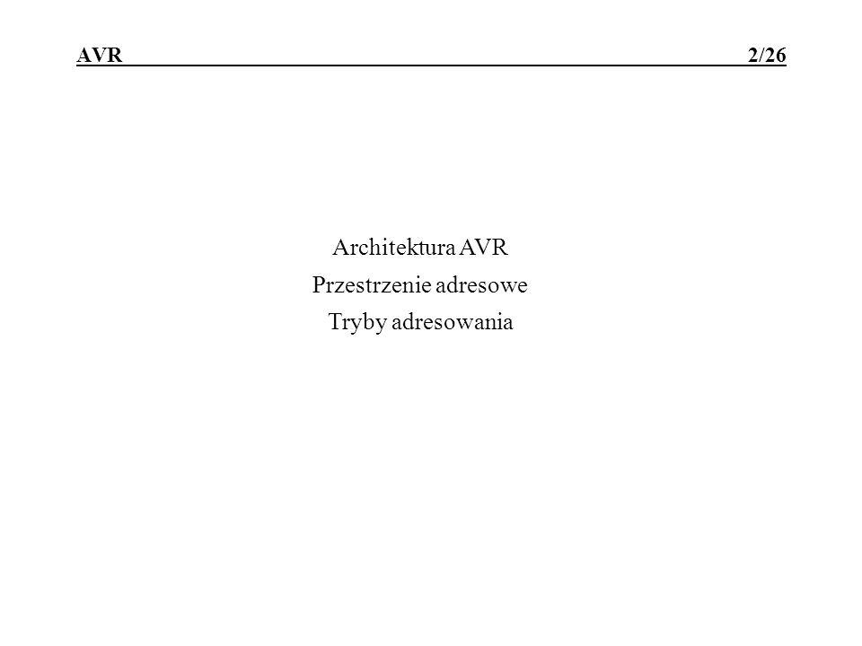 Architektura AVR Przestrzenie adresowe Tryby adresowania