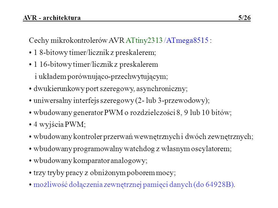 Cechy mikrokontrolerów AVR ATtiny2313 /ATmega8515 :