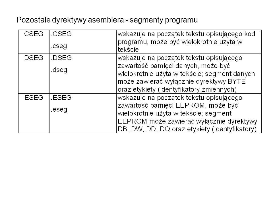 Pozostałe dyrektywy asemblera - segmenty programu