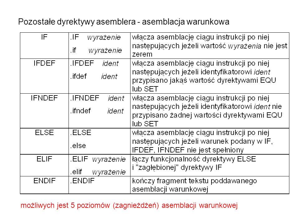 Pozostałe dyrektywy asemblera - asemblacja warunkowa