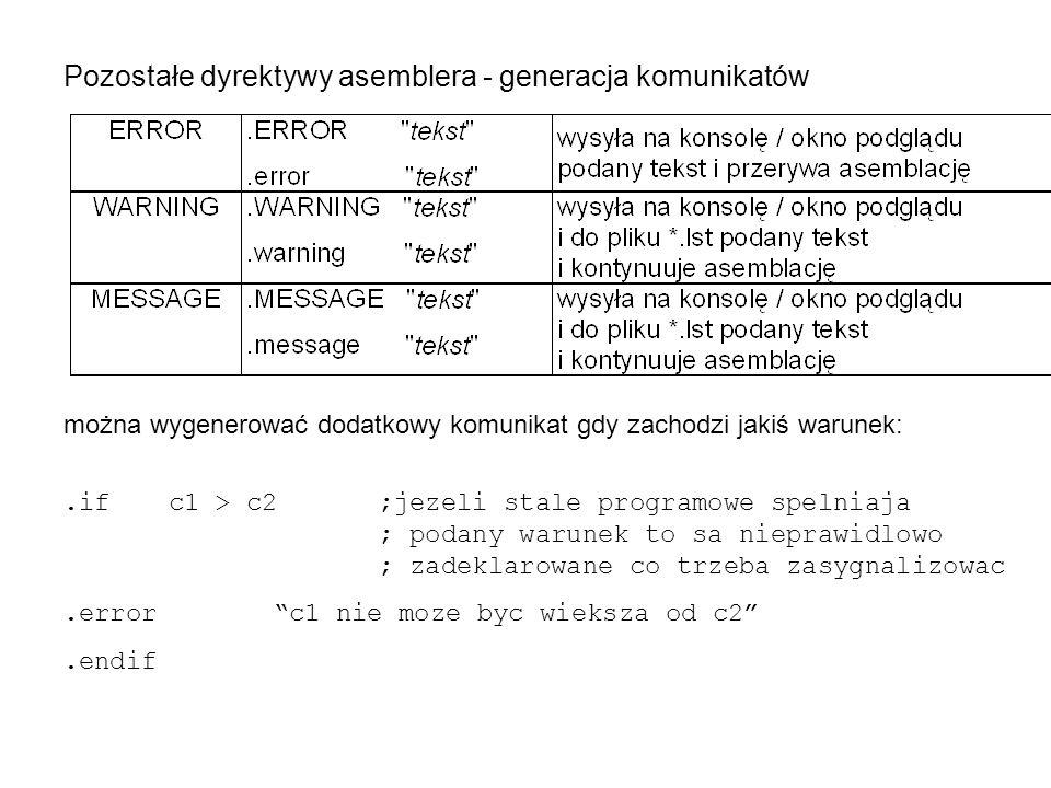 Pozostałe dyrektywy asemblera - generacja komunikatów