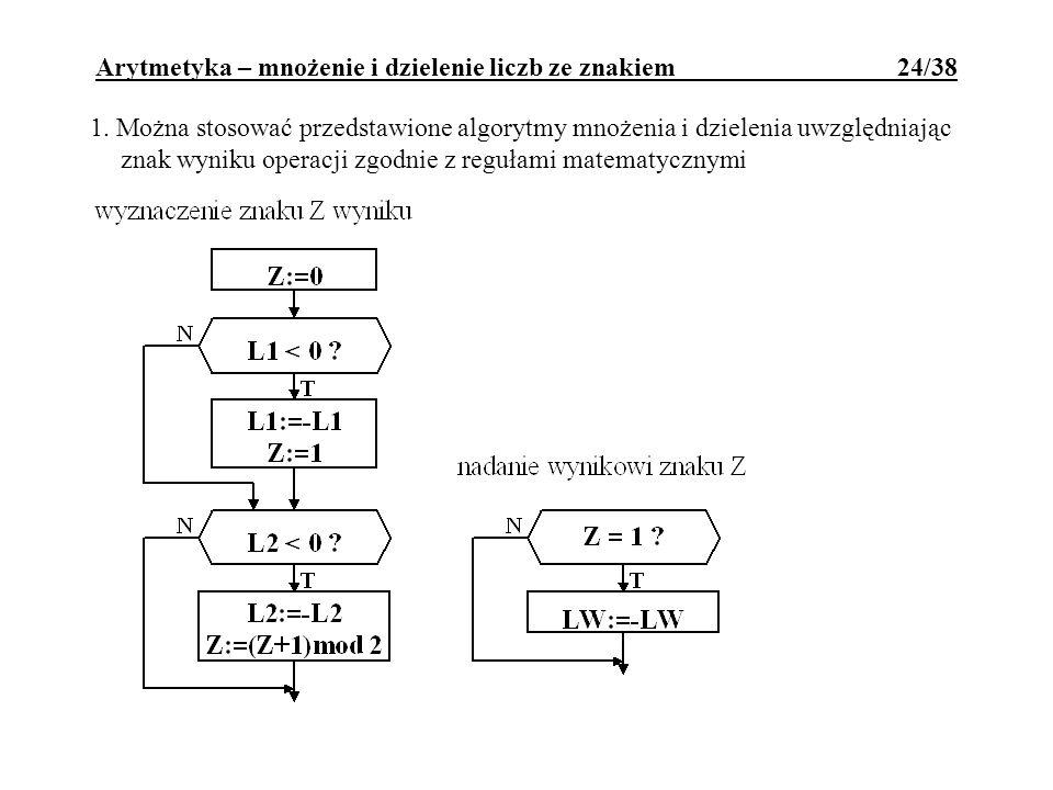 Arytmetyka – mnożenie i dzielenie liczb ze znakiem 24/38
