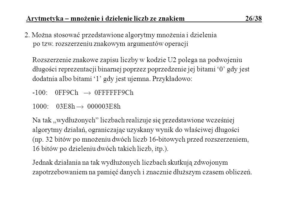 Arytmetyka – mnożenie i dzielenie liczb ze znakiem 26/38