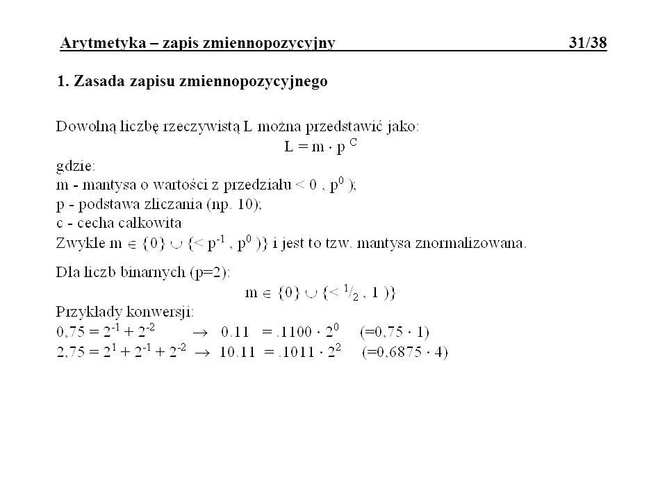 Arytmetyka – zapis zmiennopozycyjny 31/38