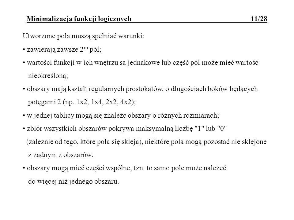 Minimalizacja funkcji logicznych 11/28