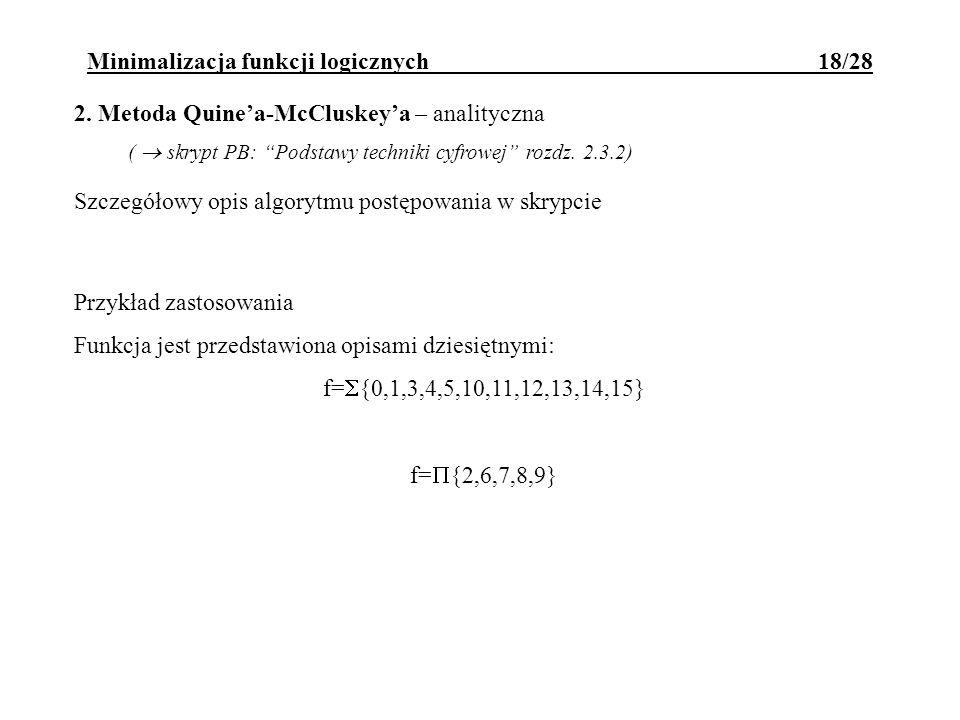 Minimalizacja funkcji logicznych 18/28
