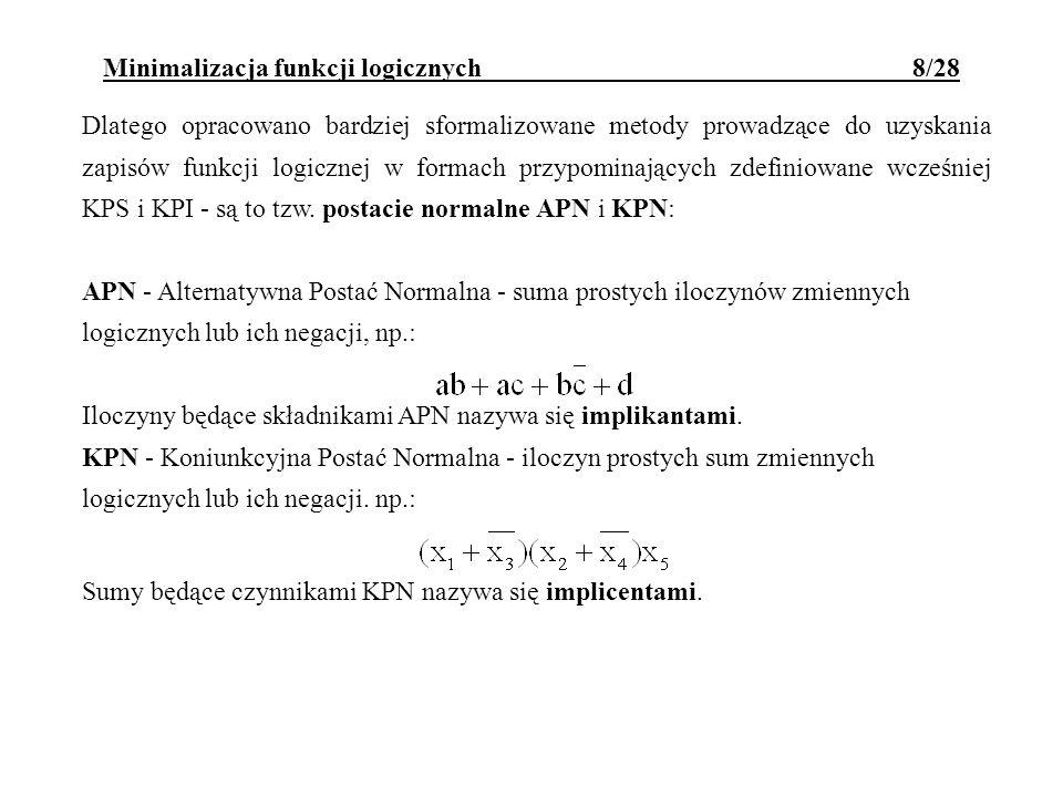 Minimalizacja funkcji logicznych 8/28