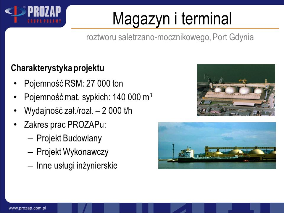 roztworu saletrzano-mocznikowego, Port Gdynia