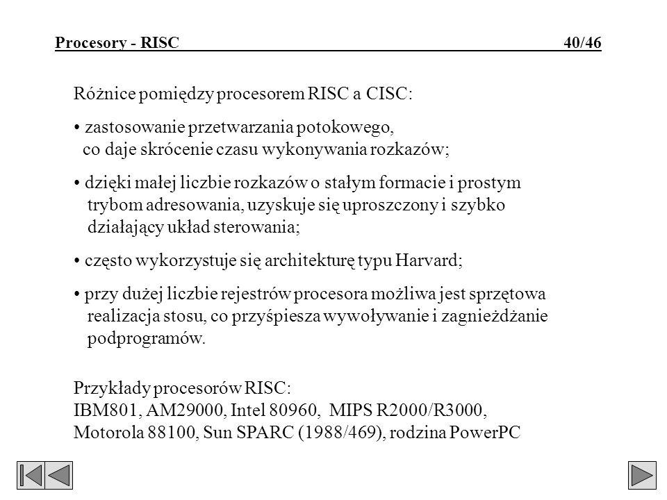 Różnice pomiędzy procesorem RISC a CISC: