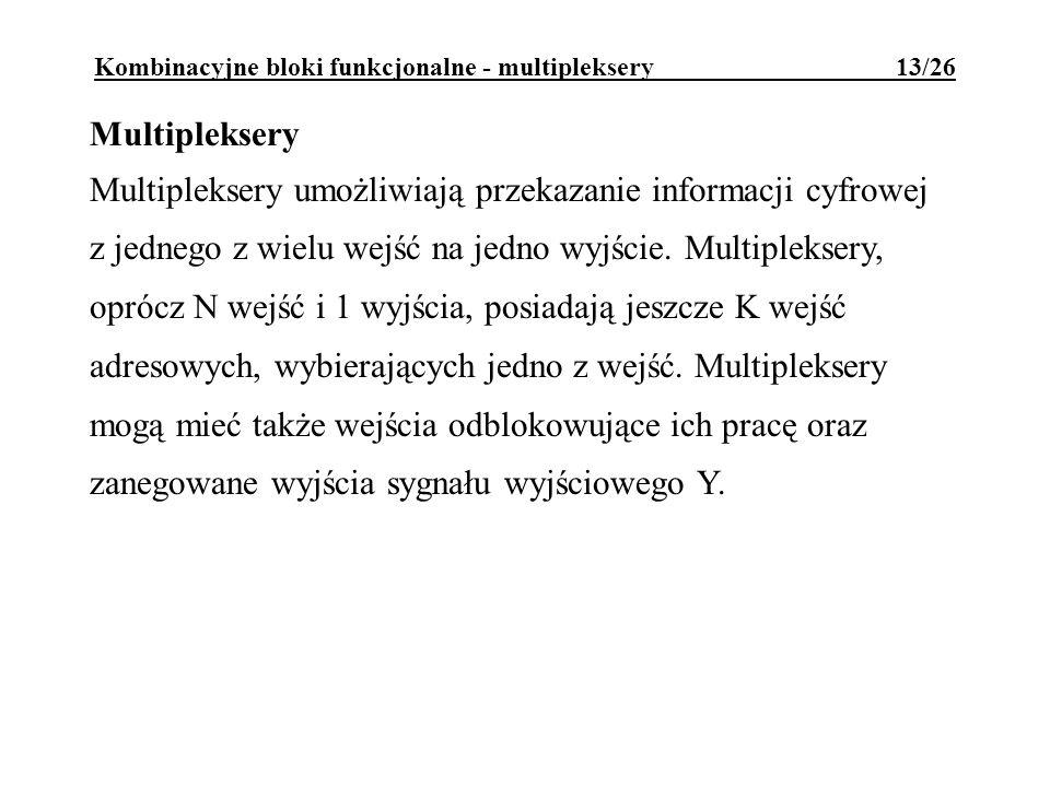 Kombinacyjne bloki funkcjonalne - multipleksery 13/26