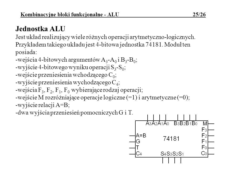 Kombinacyjne bloki funkcjonalne - ALU 25/26