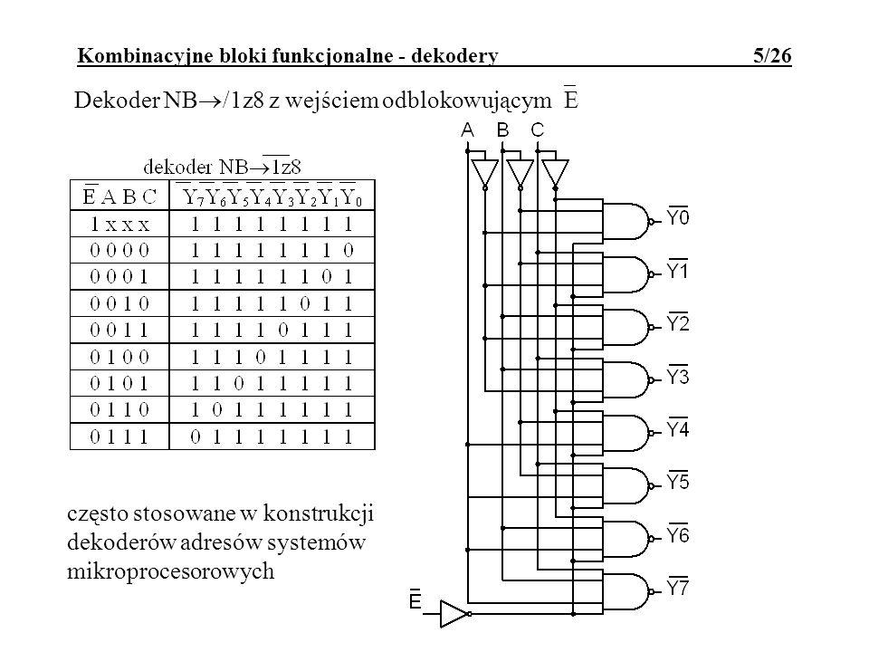 Kombinacyjne bloki funkcjonalne - dekodery 5/26