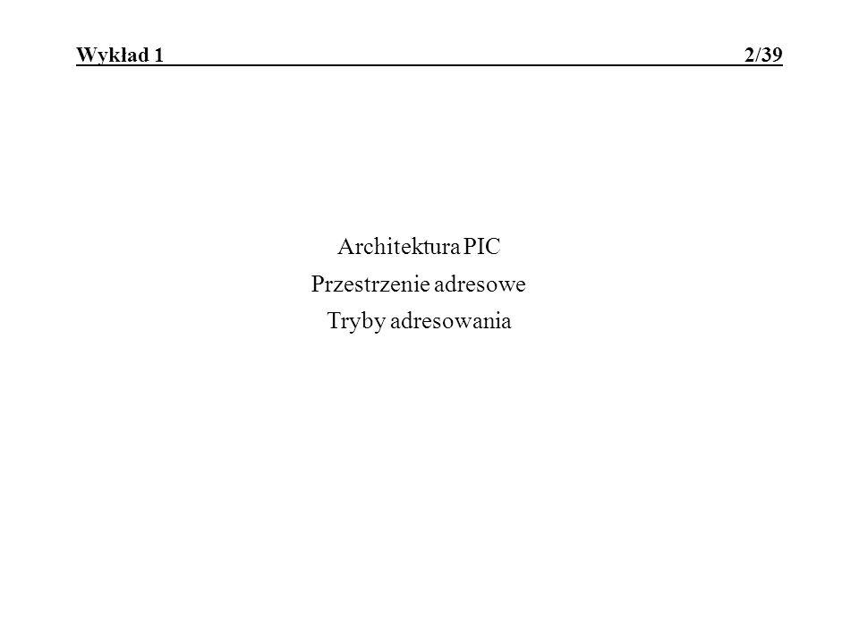 Architektura PIC Przestrzenie adresowe Tryby adresowania