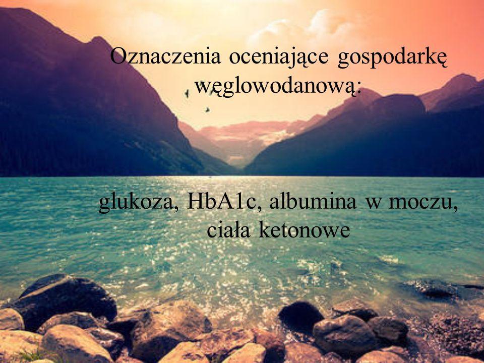 Oznaczenia oceniające gospodarkę węglowodanową: glukoza, HbA1c, albumina w moczu, ciała ketonowe