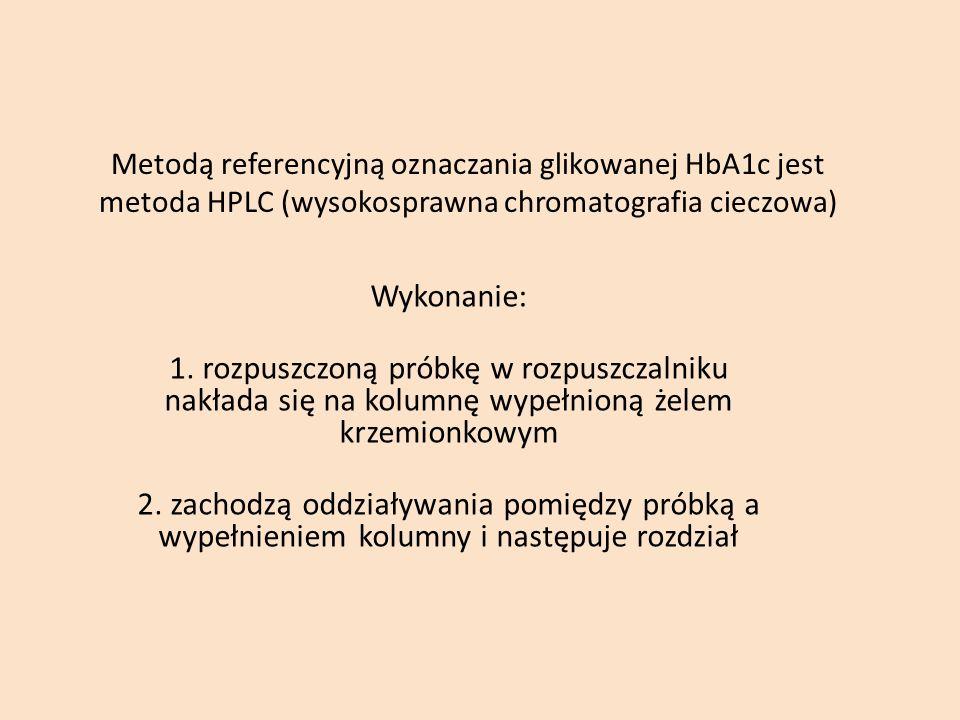 Metodą referencyjną oznaczania glikowanej HbA1c jest metoda HPLC (wysokosprawna chromatografia cieczowa)