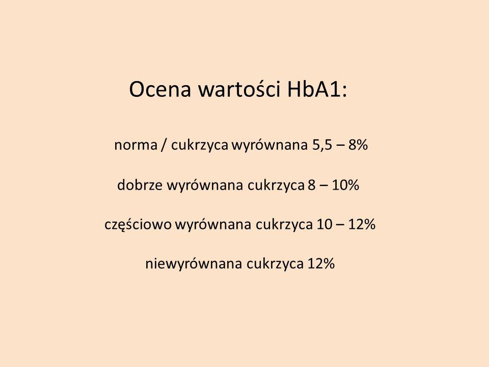 Ocena wartości HbA1: norma / cukrzyca wyrównana 5,5 – 8% dobrze wyrównana cukrzyca 8 – 10% częściowo wyrównana cukrzyca 10 – 12% niewyrównana cukrzyca 12%