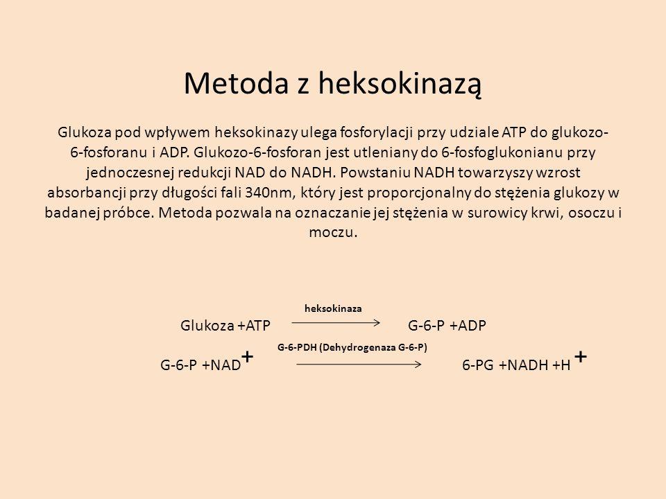 Metoda z heksokinazą Glukoza pod wpływem heksokinazy ulega fosforylacji przy udziale ATP do glukozo- 6-fosforanu i ADP.