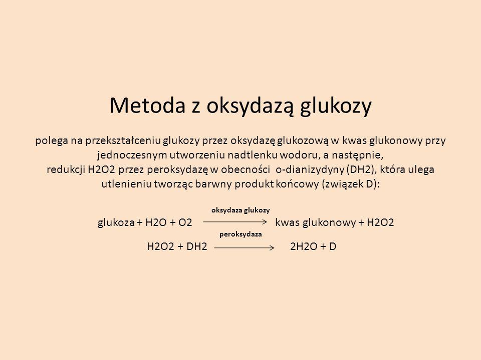 Metoda z oksydazą glukozy polega na przekształceniu glukozy przez oksydazę glukozową w kwas glukonowy przy jednoczesnym utworzeniu nadtlenku wodoru, a następnie, redukcji H2O2 przez peroksydazę w obecności o-dianizydyny (DH2), która ulega utlenieniu tworząc barwny produkt końcowy (związek D): oksydaza glukozy glukoza + H2O + O2 kwas glukonowy + H2O2 peroksydaza H2O2 + DH2 2H2O + D