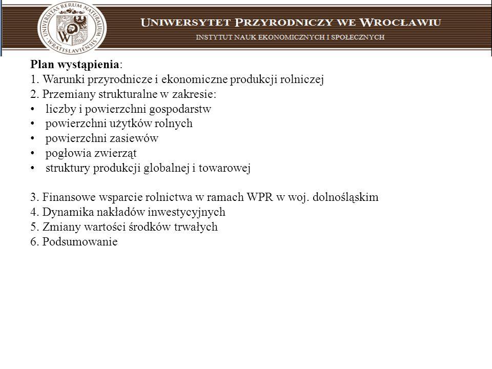 Plan wystąpienia: 1. Warunki przyrodnicze i ekonomiczne produkcji rolniczej. 2. Przemiany strukturalne w zakresie: