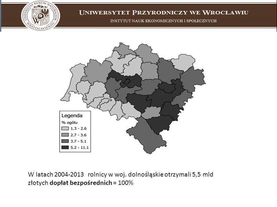 W latach 2004-2013 rolnicy w woj. dolnośląskie otrzymali 5,5 mld złotych dopłat bezpośrednich = 100%
