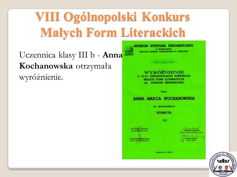 VIII Ogólnopolski Konkurs Małych Form Literackich