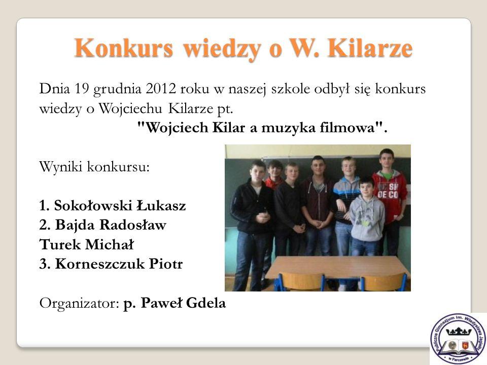 Konkurs wiedzy o W. Kilarze