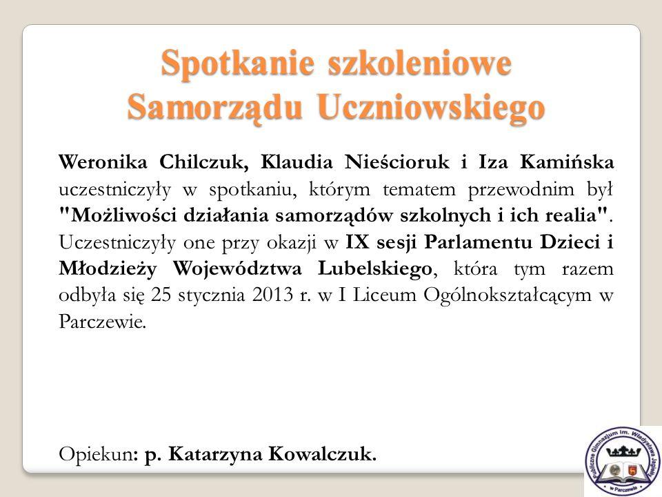 Spotkanie szkoleniowe Samorządu Uczniowskiego