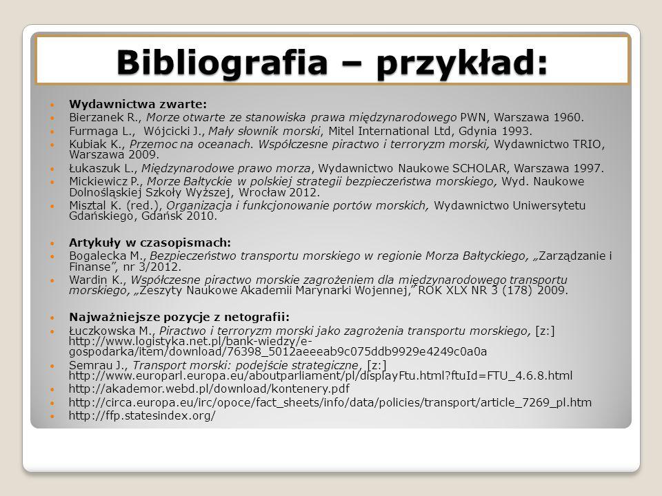 Bibliografia – przykład: