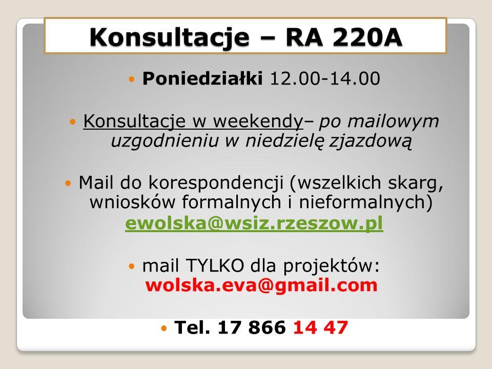 Konsultacje – RA 220A Poniedziałki 12.00-14.00