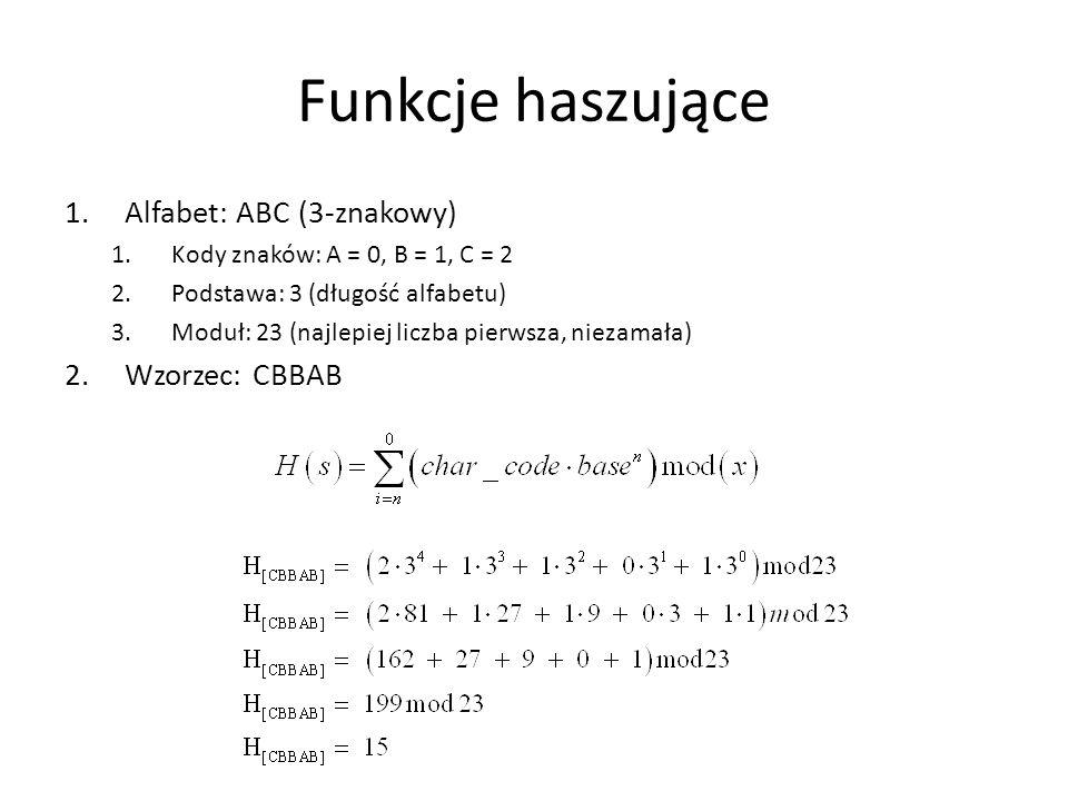 Funkcje haszujące Alfabet: ABC (3-znakowy) Wzorzec: CBBAB