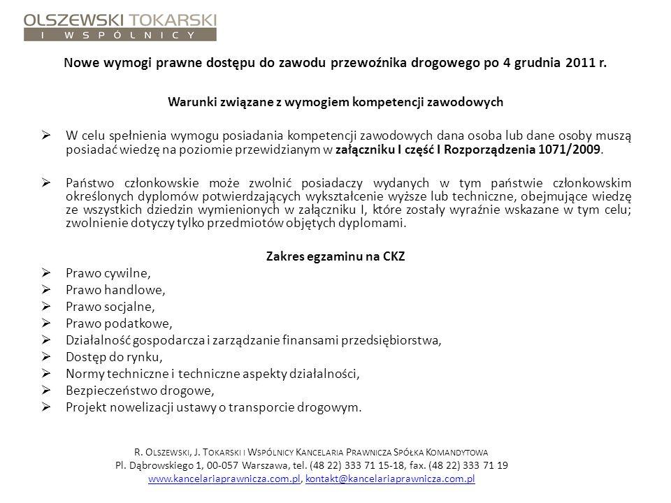 Warunki związane z wymogiem kompetencji zawodowych