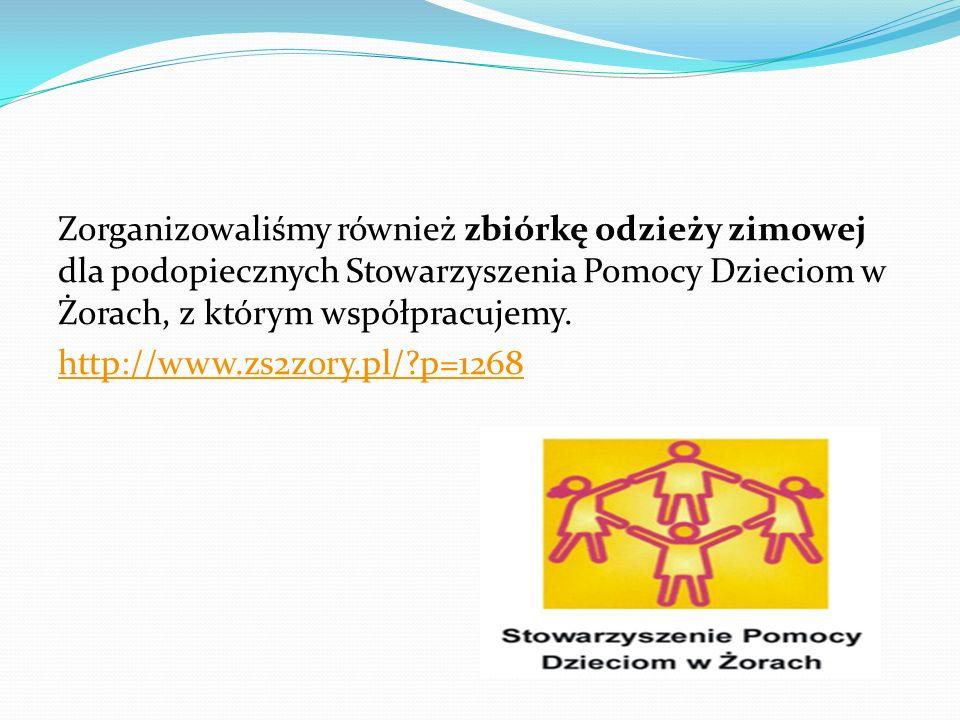 Zorganizowaliśmy również zbiórkę odzieży zimowej dla podopiecznych Stowarzyszenia Pomocy Dzieciom w Żorach, z którym współpracujemy.