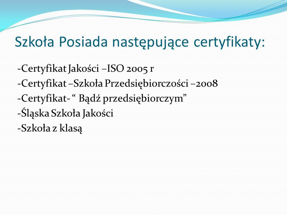 Szkoła Posiada następujące certyfikaty: