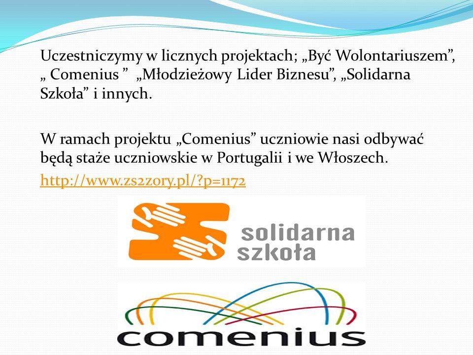 """Uczestniczymy w licznych projektach; """"Być Wolontariuszem , """" Comenius """"Młodzieżowy Lider Biznesu , """"Solidarna Szkoła i innych."""