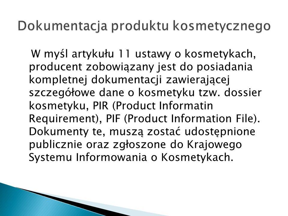 Dokumentacja produktu kosmetycznego