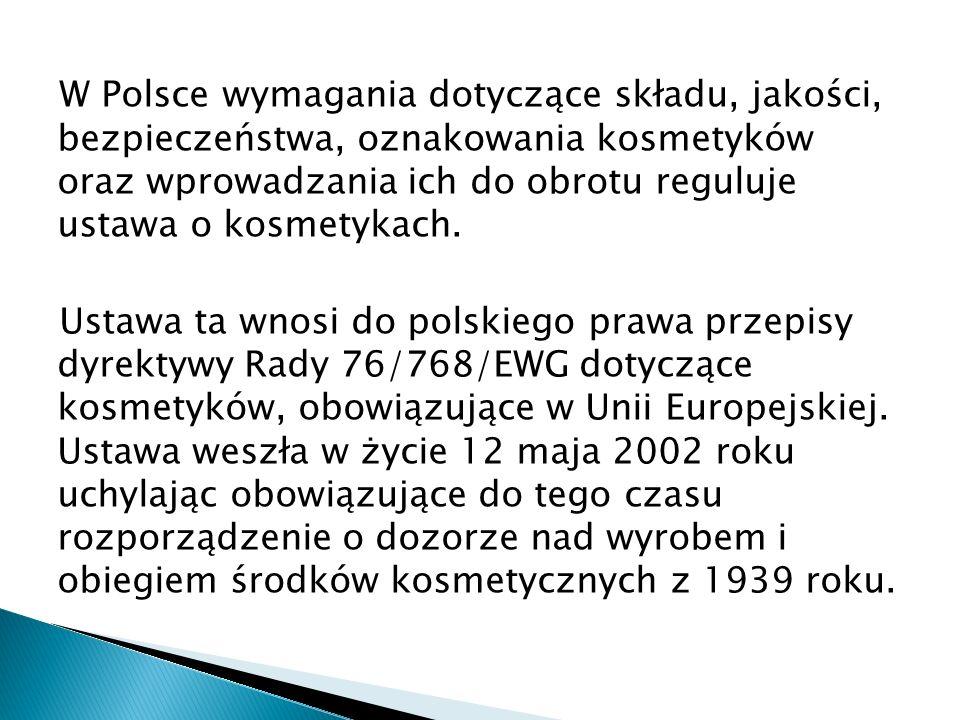 W Polsce wymagania dotyczące składu, jakości, bezpieczeństwa, oznakowania kosmetyków oraz wprowadzania ich do obrotu reguluje ustawa o kosmetykach.