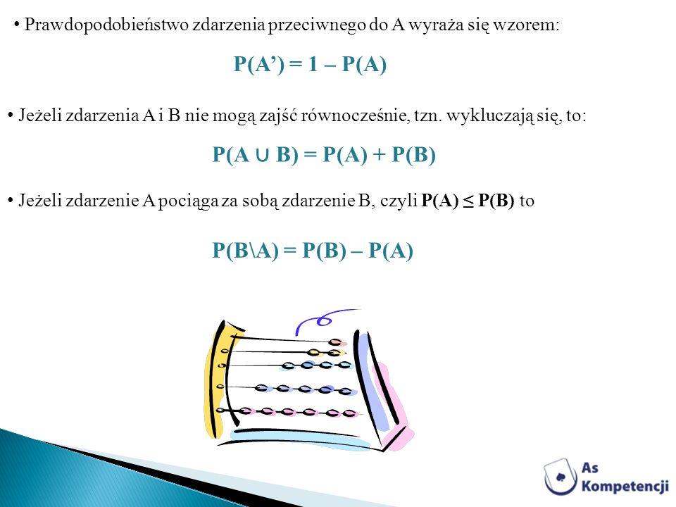P(A') = 1 – P(A) P(A ∪ B) = P(A) + P(B) P(B\A) = P(B) – P(A)