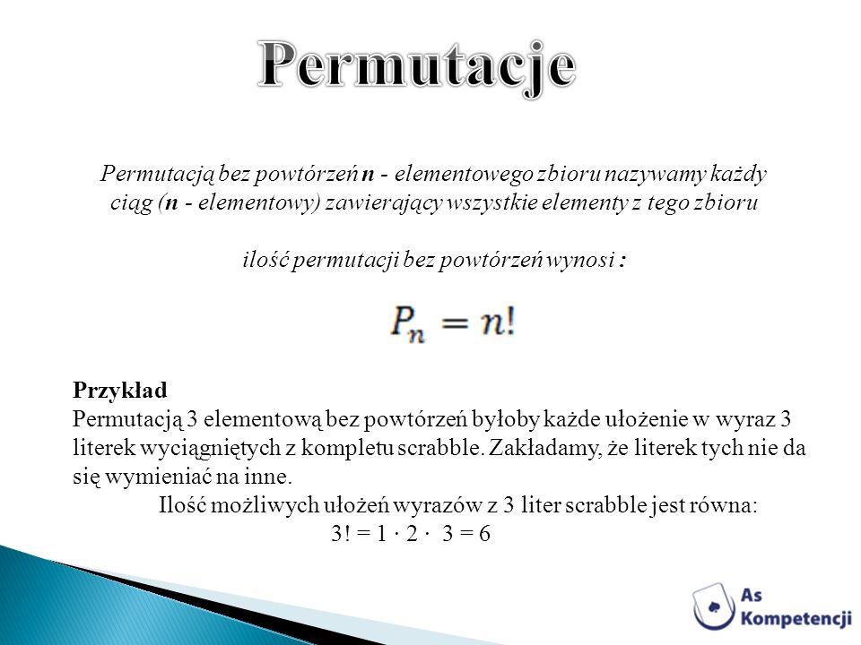 ilość permutacji bez powtórzeń wynosi :