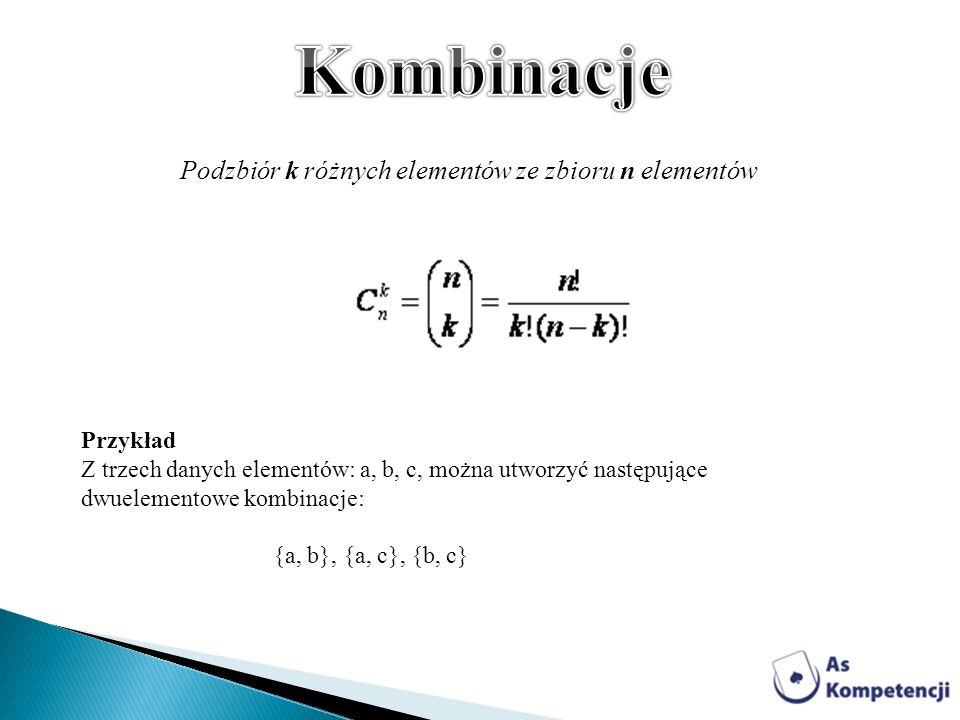 Kombinacje Podzbiór k różnych elementów ze zbioru n elementów Przykład