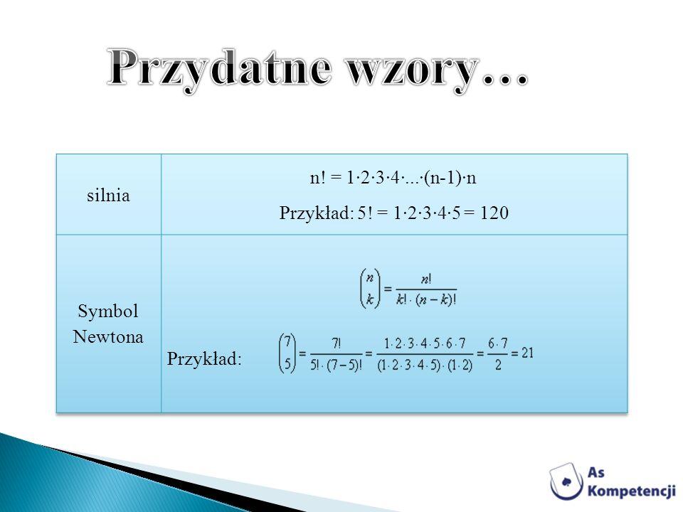 Przydatne wzory… n! = 1·2·3·4·...·(n-1)·n silnia