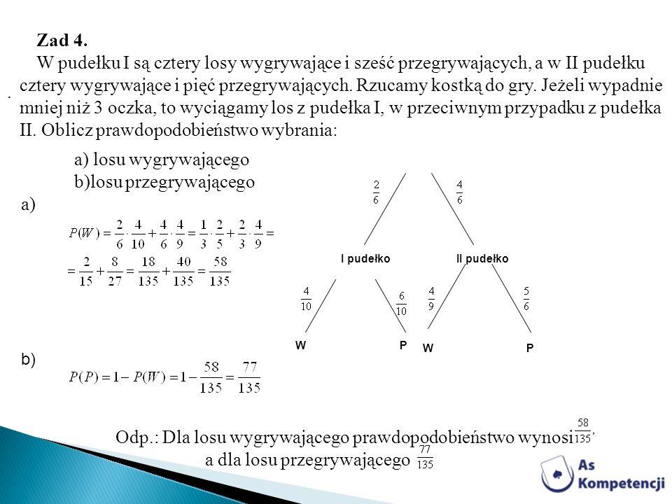 a) losu wygrywającego b)losu przegrywającego a)