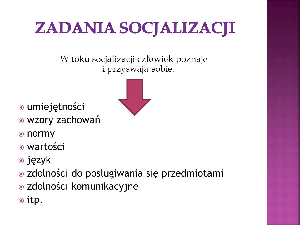 W toku socjalizacji człowiek poznaje i przyswaja sobie: